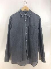 長袖シャツ/M/コットン/BLK/無地/used shirts