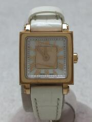 腕時計/アナログ/レザー/WHT/012-60500L-875/クアドロミニ/