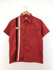 半袖シャツ/M/ポリエステル/RED/ボーリングシャツ