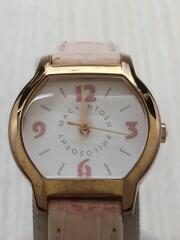 クォーツ腕時計/アナログ/レザー/WHT/PNK