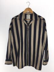 長袖シャツ/2/レーヨン/NVY/18年/リングジップオープンカラーシャツ