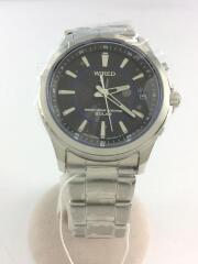 7B52/ソーラー腕時計/アナログ/ステンレス/BLK