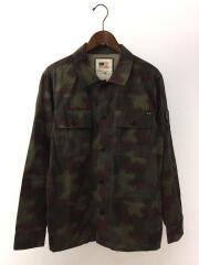 ミリタリーシャツ/M/コットン/GRY/カモフラ/シャツジャケット/迷彩