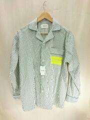 20SS/タイプライターストライプパジャマシャツ/36/コットン/WHT/ストライプ/1025106030