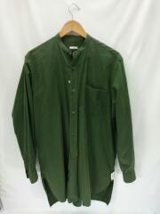 バンドカラーシャツ/長袖シャツ/2/コットン/GRN/101-02003/襟変色有