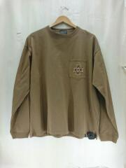 バックプリント長袖Tシャツ/L/コットン/BRW/0475-1000