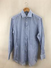 サルヴァトーレフェラガモ/長袖チェックシャツ/14.5/コットン/ブルー/青/MADE IN ITALY