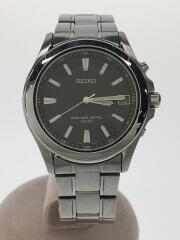 セイコー/ソーラー腕時計/アナログ/ステンレス/ブラック/シルバー/黒/銀/7B22-0AY0