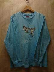 18SS/KARATE TEE/長袖Tシャツ/S/コットン/BLU/使用感有