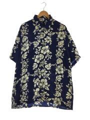 アロハシャツ/XL/シルク/NVY
