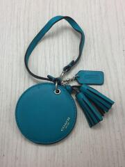 ミラーチャーム/レザー/BLU/携帯鏡/キーホルダーミラー/046167