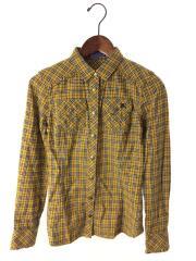 ネルシャツ/36/コットン/YLW/チェックシャツ/E1M50-240-60/スナップボタン/刺繍