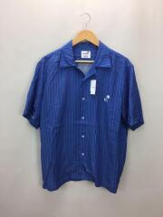 半袖シャツ/M/テンセル/BLU/マルチストライププリントシャツ/SH09/TS003/オープンカラーシャツ