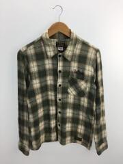 長袖ネルシャツ/S/コットン/GRN/チェックシャツ
