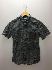 半袖シャツ/XS/コットン/BLU/チェックシャツ/WM-B047/切替シャツ