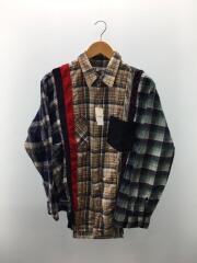 再構築ネルシャツ/M/チェックシャツ/リメイクネルシャツ