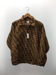開襟シャツ/M/コットン/キャメル/総柄ネルシャツ/オープンカラーシャツ