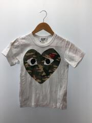 ハートワッペンTシャツ/S/コットン/ホワイト/ワンポイントTシャツ/AZ-T241/カモビッグハートT