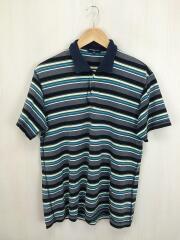 ポロシャツ/M/コットン/GRY/ボーダー/HE-T020