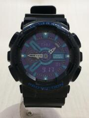 クォーツ腕時計/デジアナ/ラバー/BLU