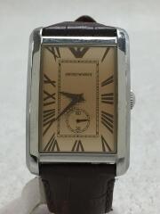 エンポリオアルマーニ/クォーツ腕時計/アナログ/レザー/BRW/BRW/AR-1605/