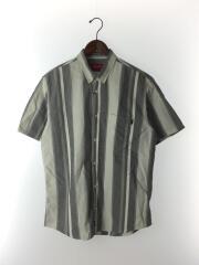 半袖シャツ/XL/コットン/GRY/ストライプ