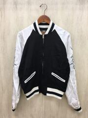 トライバル刺繍スカジャン/M/レーヨン/ブラック