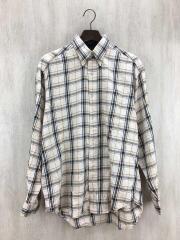 90s/ボタンダウンチェックシャツ/M/コットン/BEG/チェック