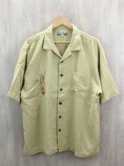 KAHALA/刺繍アロハシャツ/XL/シルク/YLW/使用感有