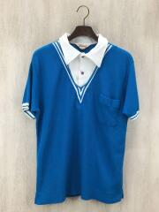 ニットポロシャツ/XL/ブルー/ホツレ有