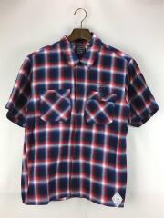 半袖オンブレチェックシャツ/M/コットン/NVY