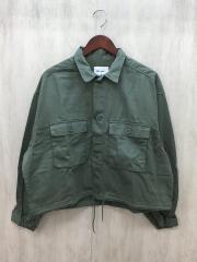 サテンドロストミリタリージャケット/M/コットン/S202CJ03SW