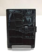 クロコ型押し2つ折り財布/レザー/ブラック
