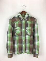 ウェスタンネルシャツ/38/コットン/GRN/チェック