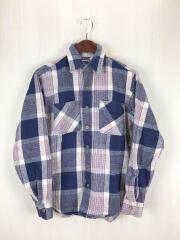 80s/ネルシャツ/S/コットン/NVY/チェック/使用感有