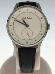 クォーツ腕時計/アナログ/レザー/WHT/BLK/1040-T024084