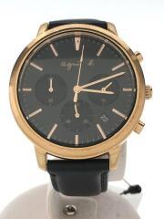 クォーツ腕時計/アナログ/レザー/ブラック/VD53-KWB0/使用感有