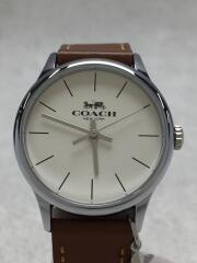クォーツ腕時計/アナログ/レザー/WHT/BRW/ルビー/スターチャーム/W1549SAD