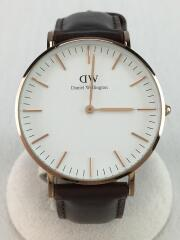 クォーツ腕時計/アナログ/レザー/WHT/BRW/B36R1
