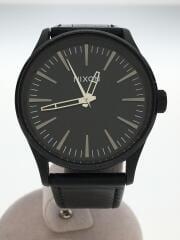 クォーツ腕時計/アナログ/レザー/BLK/BLK/THE SENTRY 38