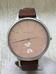 クォーツ腕時計/アナログ/レザー/PNK