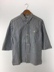 5分袖シャツ/M/コットン/ブルー/ストライプESU-5401C