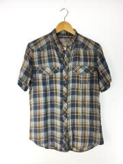 半袖シャツ/1/コットン/NVY/チェック/ネイビー