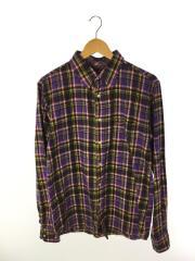 長袖シャツ/L/コットン/PUP/チェック/パープル/紫/ネルシャツ