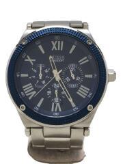 クォーツ腕時計/アナログ/ステンレス/NVY/SLV/W0246G2/キズ有