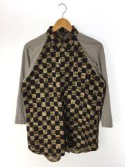 チェッカー7分袖シャツ/M/コットン/GRY/カモフラ/PI-B060/AD2011