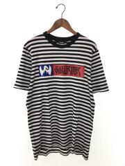 Tシャツ/M/コットン/WHT/ボーダー