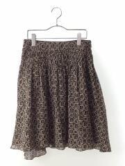 スカート/38/シルク/BLK/総柄/FX485-261-09