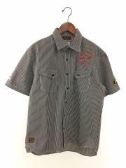 ×SNOOPY/半袖シャツ/XL/コットン/WHT/ストライプ/492031