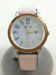 LUKIA/ソーラー腕時計/アナログ/レザー/PNK/V137-0CG0
